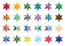 Set of colored stars. Collection of vector stars. Series stars on a white background Stock Photo