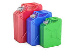 Set of colored steel jerrycans, 3D rendering Stock Image