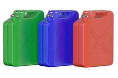 Set of colored steel jerrycans Royalty Free Stock Photo