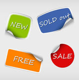 Set of colored stickers with bent corner Royalty Free Stock Image
