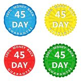 A set of multi-colored stickers with the inscription 100 percent. A set of colored stickers with the inscription 100 percent money back guarantee 45 days vector illustration
