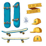 Set of colored stickers and labels with skateboards and caps. For labels, logos, icons. Attributes of skateboarding Royalty Free Stock Photo
