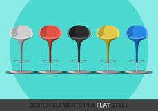 Set of colored stools in a flat style. Stock Photography