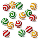 Set of colored and striped spherical icons Stock Images