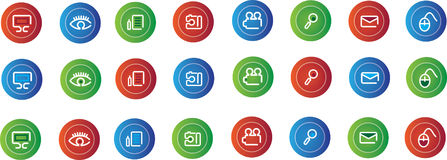 Set of colored symbols. A colorful set of computer related icons Royalty Free Stock Image