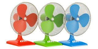 Set of colored table fans, 3D rendering. Isolated on white background Royalty Free Stock Photography