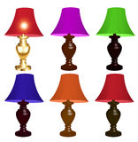 Set of colored table lamps on a white background Royalty Free Stock Photography
