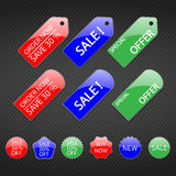 Set of colored tags for sale. Royalty Free Stock Photos