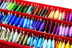 A set of colored thread with a blurred perspective Royalty Free Stock Photography