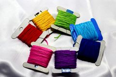 A set of colored thread on a white background Royalty Free Stock Photography