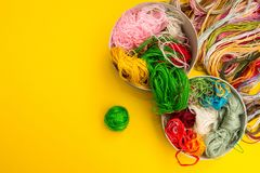 A set of colored threads for knitting stock photography