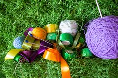 Set of colored threads and ribbons royalty free stock photo