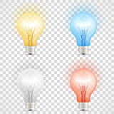 Set of colored transparent realistic glass light bulbs  on checkered background Stock Photos