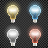 Set of colored transparent realistic glass light bulbs  on dark checkered background Stock Image