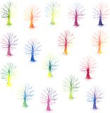 Set of colored trees silhouettes Royalty Free Stock Photography