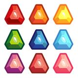A set of colored triangle gems royalty free illustration
