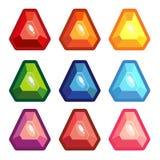 A set of colored triangle gems. Vector illustration gems royalty free illustration