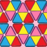 Set of colored triangles geometric background pink vector illustration