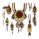 Set of colored tribal jewelry pendants. Isolated. The concept for the design. Vector illustration Royalty Free Stock Photography