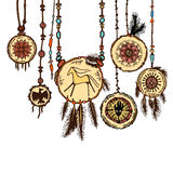 Set of colored tribal jewelry pendants. Isolated. The concept for the design. Vector illustration Royalty Free Stock Image