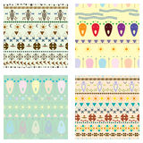 Set of colored tribal pattern Stock Photos