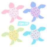 Set of colored turtles. Cute template for baby`s design Stock Photography