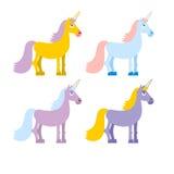 Set of colored unicorn. Pink fantasy beast. Blue fairy creature Royalty Free Stock Photo