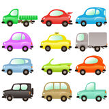 Set of colored vector cars. Set of funny and colored vector cars stock illustration