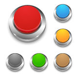 Set of colored vector 3d round web buttons with metal frame. On white Stock Image