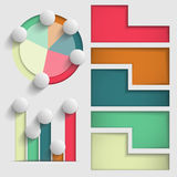 Set of colored vector elements of business charts and graphs presentation Stock Photography