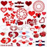 Set with colored vector hearts Stock Photo