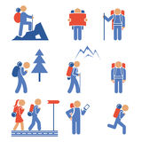Set of colored vector hiking icons Stock Image