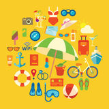 Set of colored vector icons and symbols on the summer beach holidays Royalty Free Stock Image