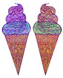 Set of colored vector illustration of ice cream cones with boho pattern. Royalty Free Stock Photo