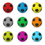 Set of colored vector soccer balls. Set of nine colored vector soccer balls isolated onwhite background. Vector EPS10 illustration Stock Images
