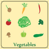 Set of colored vegetables Stock Photography