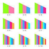 Set of colored vertical layer charts. Templates graphs. Elements for infographics. Vector Stock Photo