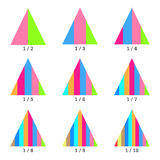 Set of colored vertical layer pyramid charts. Templates graphs in flat style. Colorful elements for infographics. Vector Stock Image