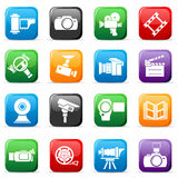 Set of colored video buttons Royalty Free Stock Photography