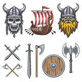 Set of colored viking elements Royalty Free Stock Image