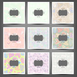 Set colored vintage backgrounds of hearts and candy Stock Photography