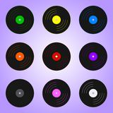 Set of Colored Vinyl Records isolated on violet background. Holidays element. Vector Illustration for Your Design, Game, Card. stock illustration