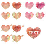 Set of colored watercolor hearts Stock Photo