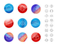 Set of colored wavy silk background circles with Royalty Free Stock Image