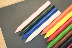 set of colored wax crayons Royalty Free Stock Photos