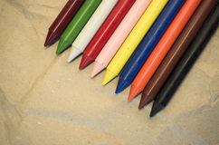 Set of colored wax crayons Royalty Free Stock Photography