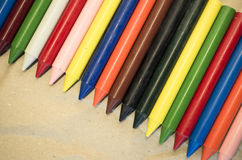 set of colored wax crayons Royalty Free Stock Images