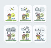 Set of Colored Weather Forecast icons Stock Images