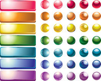Set of colored web buttons. And spheres royalty free illustration