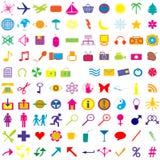 Set of colored web icons. Set of 100 colored web icons Royalty Free Illustration